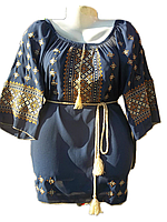 Жіноча вишита блузка з широким узором (Женская вышитая блузка с широким узором) BL-0013