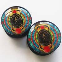 "Яркие плаги ""Скарабей"" для пирсинга ушей (диаметр 14, 16 мм)(цена за 1 шт). Акрил."