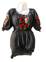 Жіноча вишита блузка з червоними трояндами (Женская вышитая блузка с красными розами) BL-0020