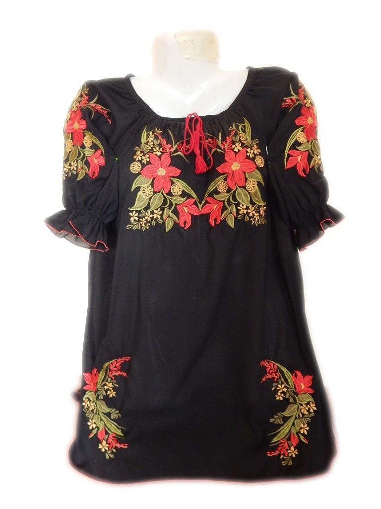 Женская вышитая рубашка с красными лилиями BL-0023