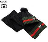 Разные цвета Gucci шапка + шарф вязаные для взрослых и подростков хлопок гуччи, фото 4