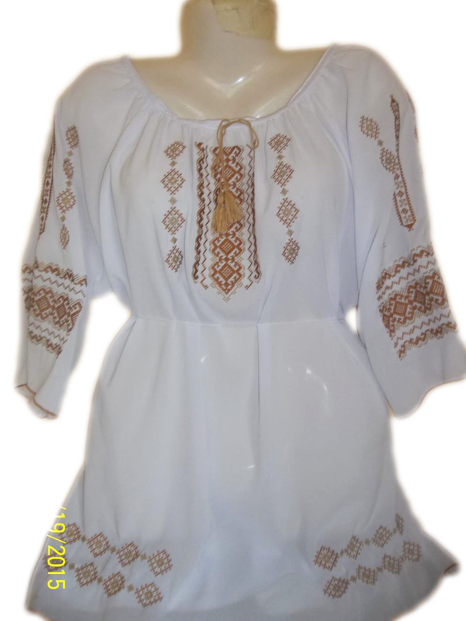 """Женская вышитая рубашка """"Кремовый орнамент"""" BL-0030"""