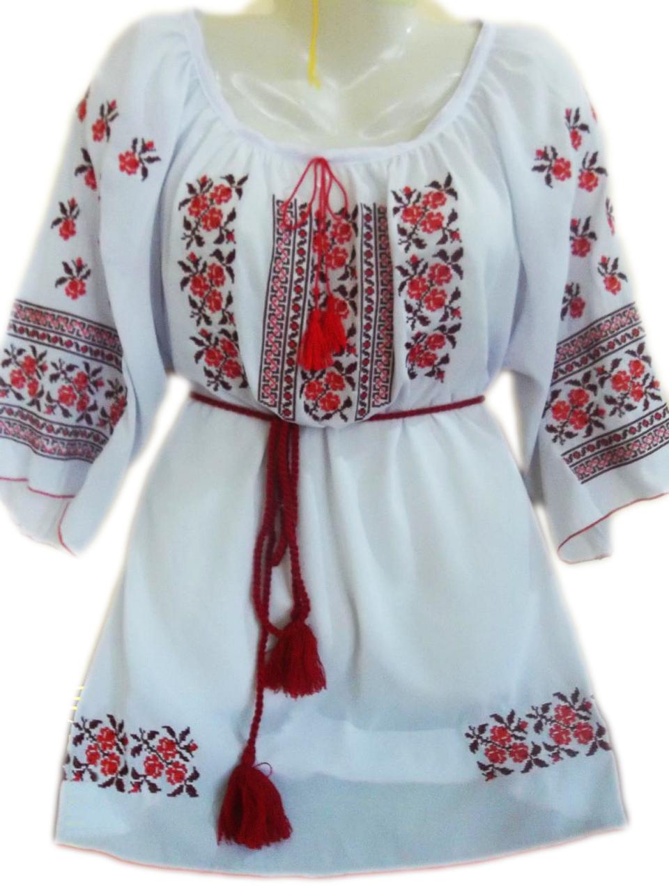 """Женская вышитая рубашка """"Нежный узор"""" BL-0033"""