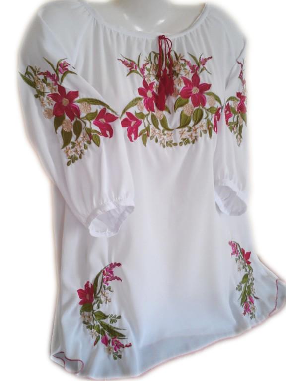 """Женская вышитая рубашка """"Бархатные лилии"""" BL-0034"""