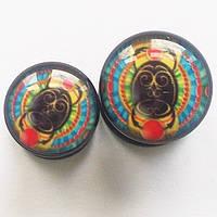 "Яркие плаги для пирсинга ушей ""Скарабей"" (диаметр 6, 8 мм)(цена за 1 шт). Акрил."