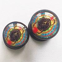 """Плаги акриловые """"Скарабей"""" для пирсинга ушей.(цена за 1 шт) Диаметр 4, 5 мм."""