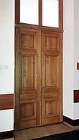 Дверь межкомнатная двустворчатая из массива ясеня с фрамугой