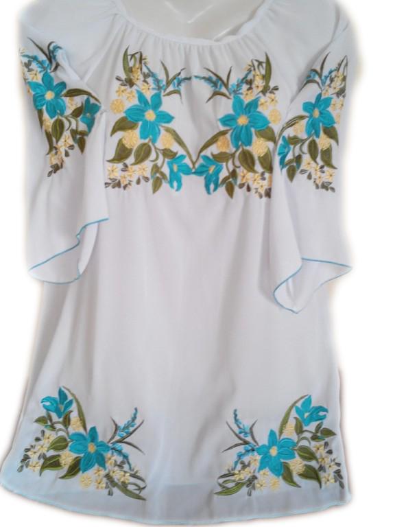 """Жіноча вишита сорочка (блузка) """"Квіткова блакить"""" (Женская вышитая рубашка (блузка) """"Цветочная лазурь"""") BL-0045"""