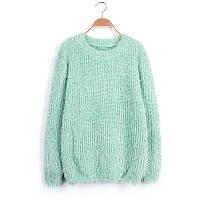 Женский свободный свитер-травка с длинными рукавами мятный