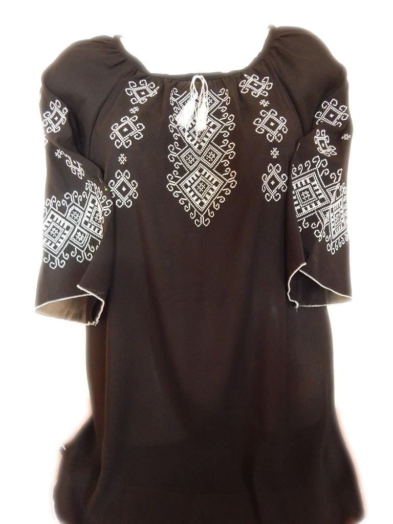 """Женская вышитая рубашка """"Белый орнамент"""" BL-0046"""