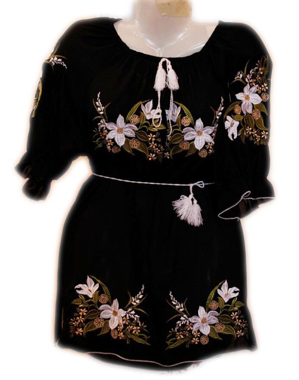 """Жіноча вишита сорочка (блузка) """"Мелодія лілій"""" (Женская вышитая рубашка (блузка) """"Мелодия лилий"""") BL-0049"""