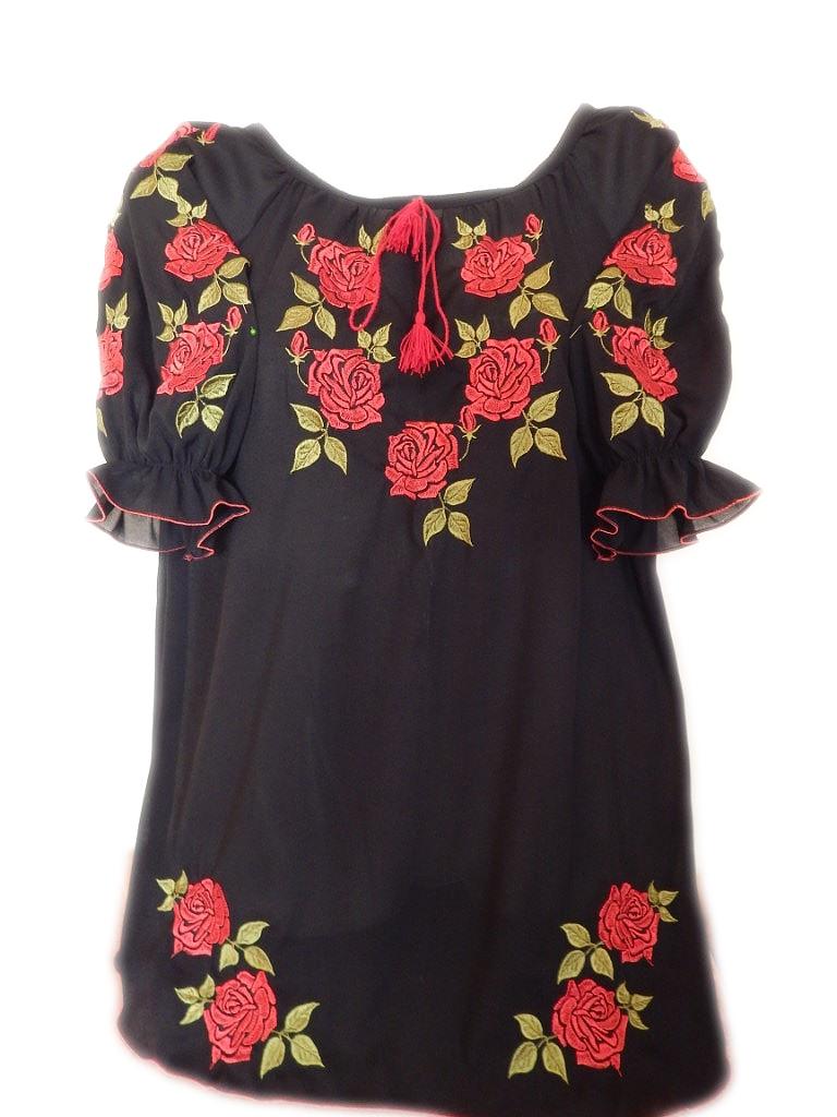 """Женская вышитая рубашка """"Шикарные розы"""" BL-0055"""