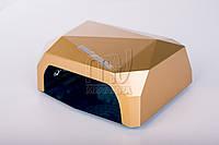 УФ лампа POWERFUL UV+LED для гель-лаков и геля 36 Вт, с таймером 10, 30 и 60 сек. (gold)