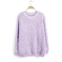 Женский свободный свитер-травка с длинными рукавами фиолетовый