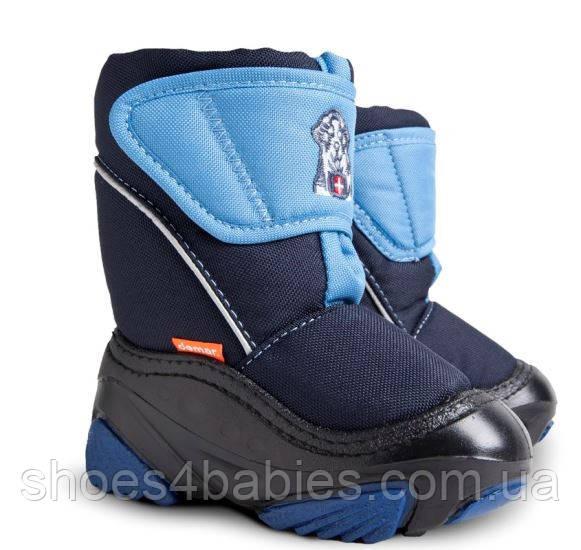 Детские зимние сапожки, сноубутсы, дутики Demar Doggy синие (Демар догги синие)