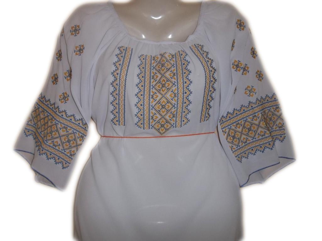 """Женская вышитая рубашка """"Сине-желтый узор"""" BL-0066"""