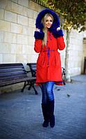Парка зимняя с мехом на рукавах цвет красный