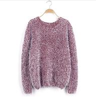 Женский свободный свитер-травка с длинными рукавами бордовый