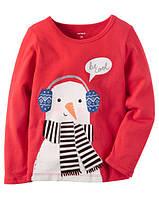 Яркая детская кофта для девочек со снеговиком  +аппликация Картерс