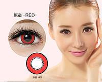 Цветные контактные линзы, корея, крейзи, кукольные, увеличивают радужку, красные, красного цвета