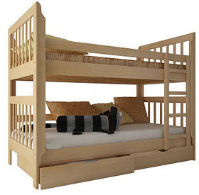 """Двоярусне ліжко """"Заріна"""" з ящиками (масив бука)"""