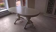 Стол обеденный раздвижной овальный из натурального дерева