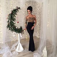 Вечернее женское платье Лайза верх лео и роза на пояске