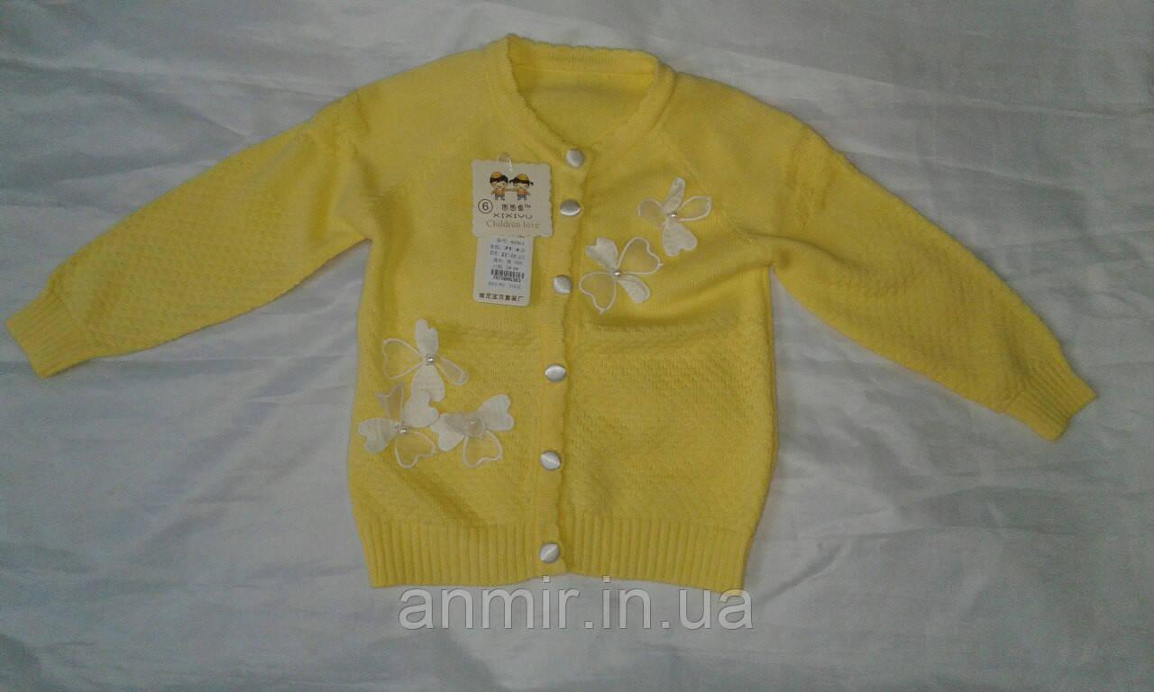 Кофта детская для девочки 1-5 года,желтая, фото 1