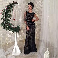 Вечернее женское платье Эсмеральда кружевное в пол с полосками на талии