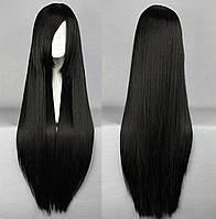 Парик искусственные волосы аниме черный карнавальный косплей cosplay прямой ровный 80см