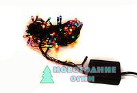 Гирлянда на черном проводе на микролампах, мульти (4,5 метра. - 100 ламп)