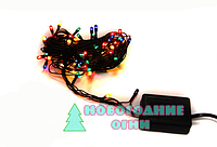 Гирлянда на черном проводе на микролампах, мульти (9 метр. - 300 ламп)