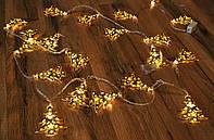 Гирлянда светодиодная елочки цвет золото 20 LED мульти 3 метра