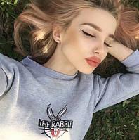 Свитшот женский The Rebbit, материал - двунить, цвет - светло-серый