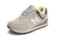 Зимние кроссовки New Balance 574, кроссовки мужские нью бэлэнс 574 светло-серые
