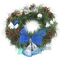 Рождественский венок из хвои с колокольчиками, D-30 см.