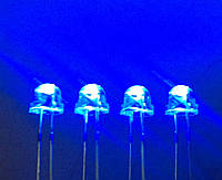 5мм светодиод синий ультраяркий, широкоугольный 100штук