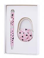 Подарочный набор ручка и держатель для сумки Нефтис розовый
