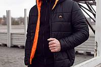 Мужская зимняя куртка Nike черно-оранжевая топ реплика