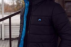 Мужская зимняя куртка Nike черно-синяя топ реплика