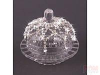 """Икорница с крышкой стеклянная 12,5х11,5 см. """"Серебряные капельки"""" прозрачная со стразами"""