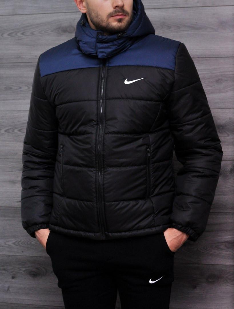 Мужская зимняя куртка Nike сине-черная топ реплика