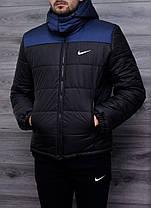 Мужская зимняя куртка Nike сине-черная топ реплика, фото 2