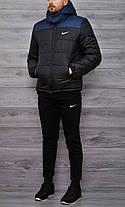 Мужская зимняя куртка Nike сине-черная топ реплика, фото 3