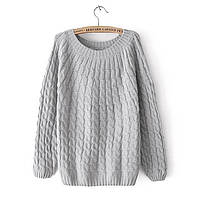 Женский свитер вязаный косичка с длинными рукавами серый