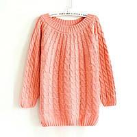 Женский свитер вязаный косичка с длинными рукавами персиковый