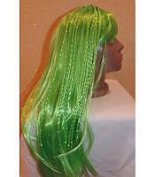 Маскарадный парик длинный с косичками зеленый