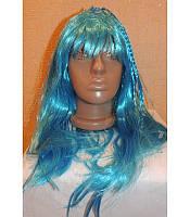 Маскарадный парик длинный с косичками голубой