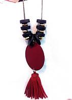 Модная подвеска кожаная кисточка, цепочка 80см