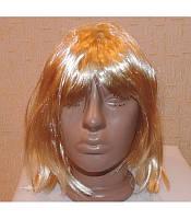 Карнавальный парик каре  черный, блонд, розовый и оранжевый.